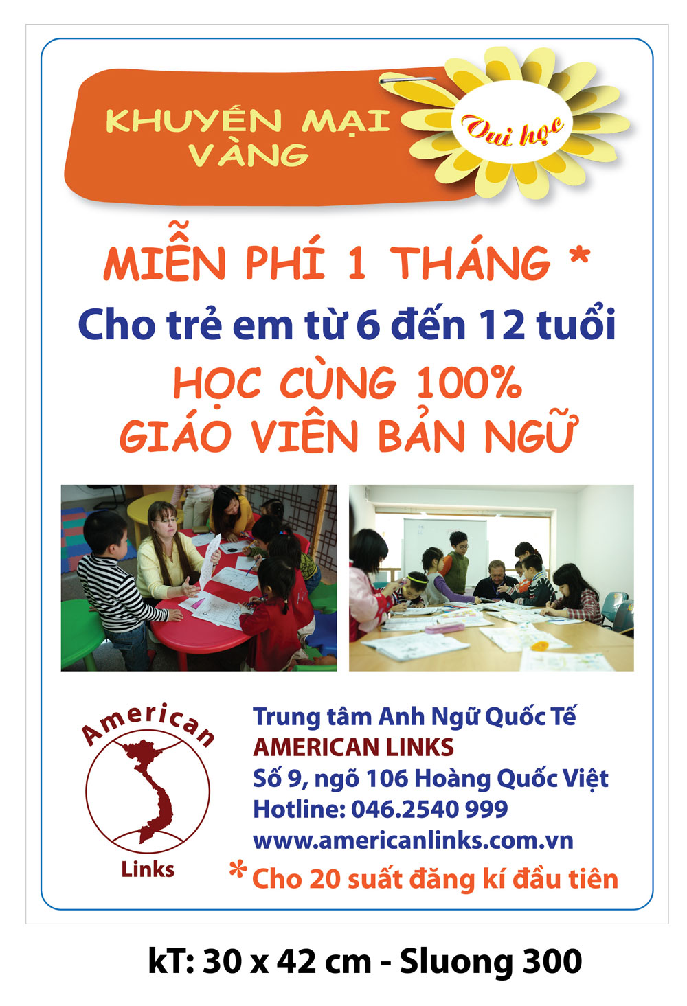 """In poster """"Trung tâm anh ngữ americanlinks"""""""